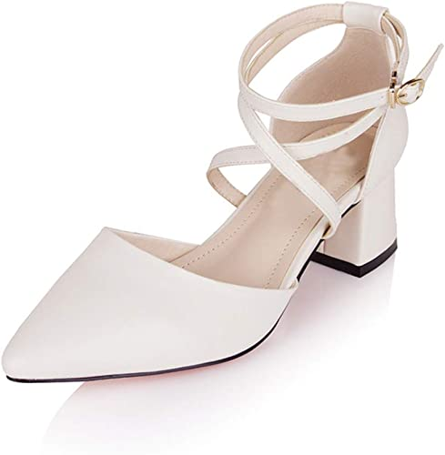 Sandales Sandales Pointues épaisses avec d'élégantes Chaussures à lacets-Beige-39