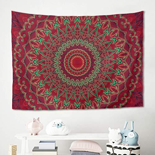 Niersensea Tapiz de pared para colgar en la pared, diseño de mandala, color verde y rojo, 100 x 150 cm