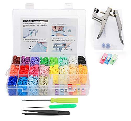 Cztech 400pcs Boutons Pressions Plastiques T5 12mm 20 Coloris,Pression Kit de Pince en Métal avec 2 Rangement de Boîte (10pcs Clip Pince Inclus)