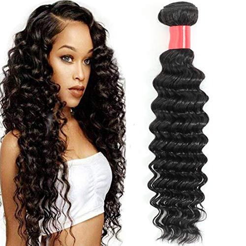 Misoun Hair Unprocessed Brazilian Virgin Hair Deep Wave Hair One Bundle 18inch Cheap Virgin Human Hair Extension Weft Natural Black Color (100+/-5g)/bundle Can be Dyed and Bleached