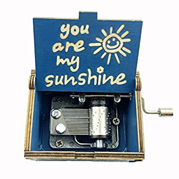 TUOZFLY You are My Sunshine Music Box Wooden Music Boxes Kid Toys Hand Crank Engraved Present for New Year/Holiday/Birthday/Christmas/Valentine s Day for Girls/Boys/Wife/Friend  Blue