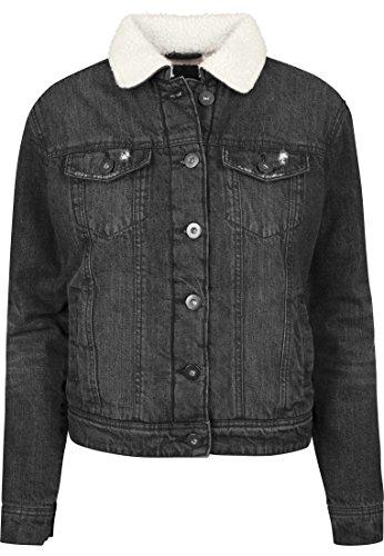 Urban Classics TB1740 Ladies Sherpa Denim Jacket, klassische Trucker Jeansjacke mit Fell für Frauen, für Herbst und Winter, warm gefüttert - black washed, Größe XL