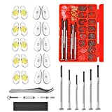 Hiketolight Eye Glass Repairing Kit, Sunglasses Eyeglass Repair Kit with 1100pcs Eyeglass Screws,Include 10 Pairs of Screw-in Nose Pads, Screws, Screwdrivers, Tweezer and Cleaning Cloth for Glasses