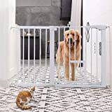 Pet Safety gate with Small Pet Door, 29.5''-51.5'' Auto Close Features,Luxury Extra Tall&Wide Child Gate, Heavy-Duty gate, Easy Walk-Thru with Pet Door for The House, Stairs, Doorways & Hallways.