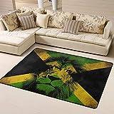 Rutschfester Teppich, 160 x 121,9 cm, Jamaika-Flagge, König der Löwen, Jamaika, Rastafari, großer Bodenteppich, Yoga-Matte, Teppich, Heimdekoration für Wohnzimmer