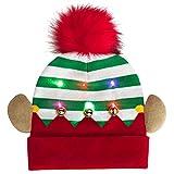 Fascigirl - Sombreros de punto LED de Navidad, luces de colores LED de Navidad, para niños, unisex, invierno, nieve, Navidad, fiestas, vacaciones, luces