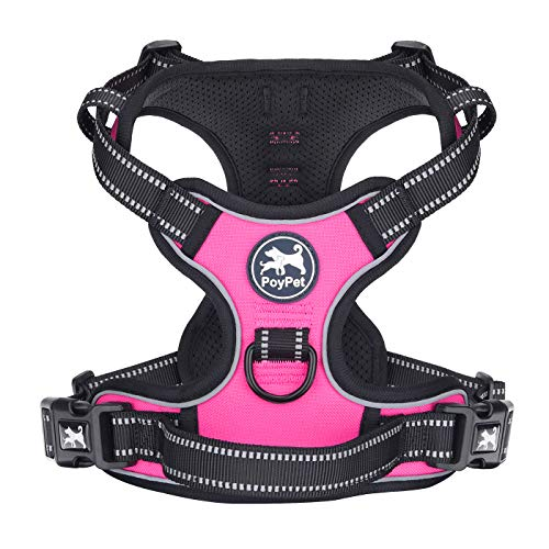 PoyPet No Pull Dog Harness, Reflective Vest Harness with 2 Leash...
