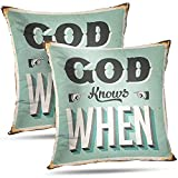 DayToy Jesus Kissenbezug Throw Pillow Covers Vintage Blechschild Gott Retro Poster 2Pack Green Old White