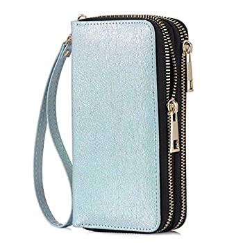 HAWEE Double Zipper Wallet for Woman Clutch Purse with Wrist Strap for Cell Phone/Card/Coin/Cash Silver Nova Tiny Sparkles