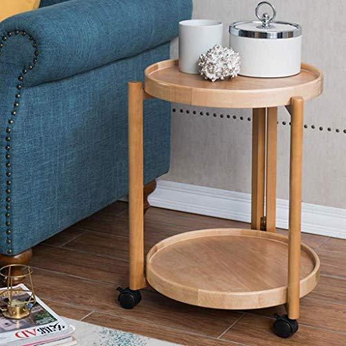 Daglig utrustning Sidobord Soffbord Slutbord Slutbord Massivt trä Sidobord med hjul flyttbart runt soffbord Små sängbord Moderna soffahörnsbord Soffbord Slutbord (Färg: A)