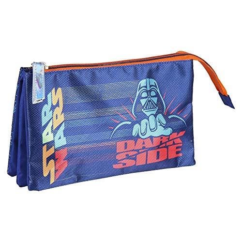 Cerdá - Estuche Triple Escolar Darth Vader Star Wars - Licencia Oficial de Disney Studios