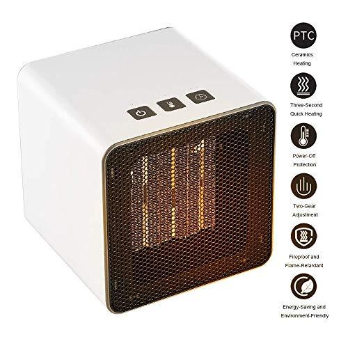 GYJLL Raumheizer Tragbarer Heizlüfter Mini-Tischheizer Elektrischer Heizlüfter mit Thermostat Überhitzungsschutz-Timer for zu Hause