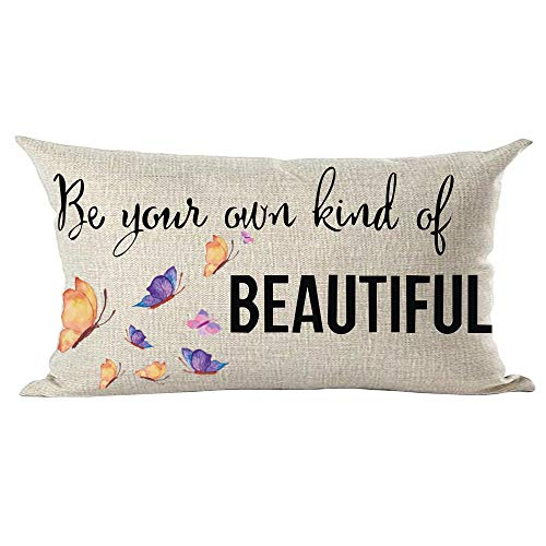 ramirar Watercolor Colorful Purple Butterflies Quote Be Your Own Kind of Beautiful Decorative Lumbar Throw Pillow Cover Case Cushion Home Living Room Bed Sofa Car Cotton Linen Rectangular 12 x 20 Inch