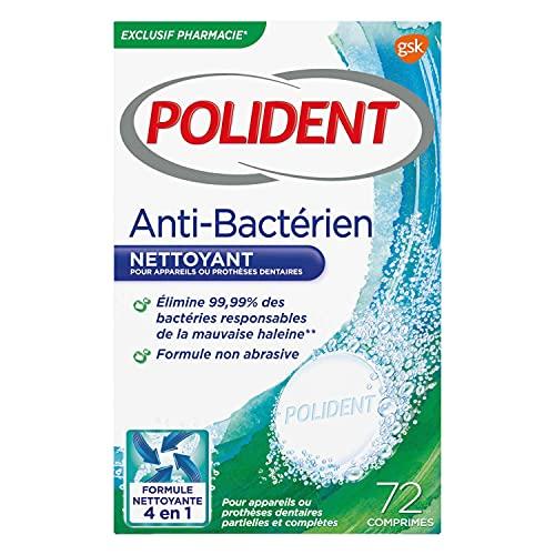 Polident Nettoyant Antibactérien, Pour Prothèses Dentaires Partielles ou Complètes, Formule Non Abrasive, 72 Comprimés