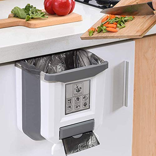 Gintan Cubos de Basura Plegable Bote de Basura Colgante Basura Extraible para Cocina Coche Baño y Oficina,9L (Blanco)