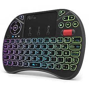 (Nueva versión) 2018 Rii X8 Mini Teclado inalámbrico, Teclado retroiluminado con Pantalla táctil 2.4GHz y Rueda de Scroll, Dispone de 8 Cambios de Color