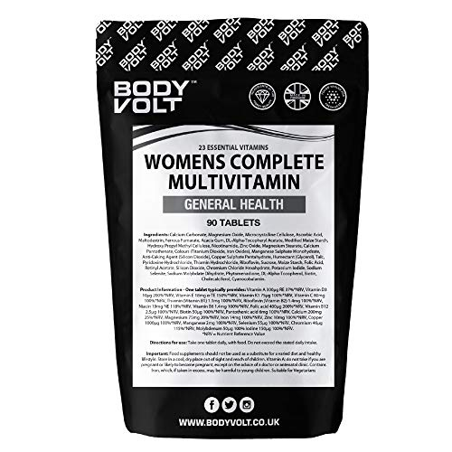 Body Volt Women's Multivitamin 90 Tablets | Contains Vitamin C D3 A E with Zinc, Folic Acid, Calcium & Iron | One a Day 3 Months Supply