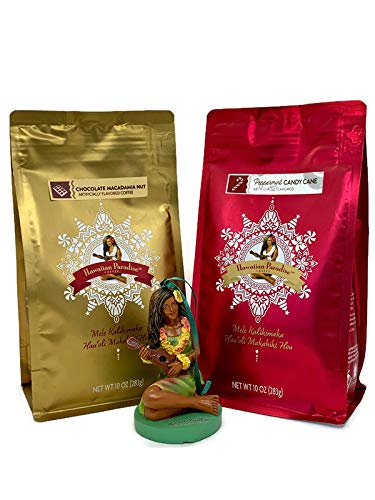 Hawaiian Paradise Coffee Holiday Coffee Gift Bundle-Limited Edition-Two 10oz. Bags Ground Flavored Coffee With A Hawaiian Paradise Christmas Ornament (Peppermint Candy Cane & Chocolate Macadamia Nut)