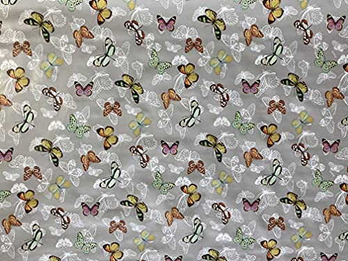 Vinyl Pvc Tablecloth 54 inch Round (137 cm) Multi colour Butterfly design on Silver Ground To fit up to an 4 Seater Size Circular table, Wipe Clean, Textile Backed Plastic Table Cloth (340)