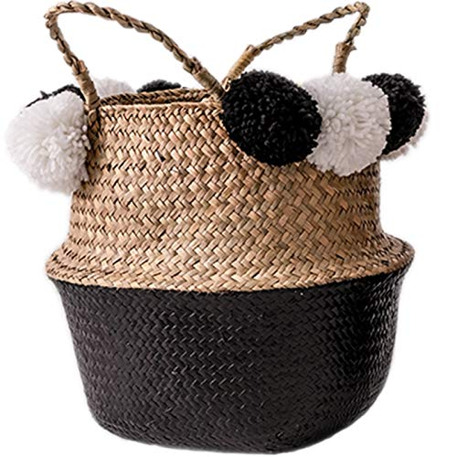 Laundry baskets Handmade Wicker Storage Baskets Foldable Laundry Straw Patchwork Rattan Seagrass Belly Garden Flower Pot Planter Basket collapsible laundry baskets ( Color : Black , Size : 32X28cm )