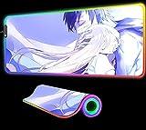 Ángeles La Muerte Anime Alfombrilla de Ratón GranJuegos Alfombrilla Ordenador Brillo RGB Alfombrilla Retroiluminación Led Alfombrilla Escritorio Teclado Alfombrilla Pc 24 Pulgadas X 12 Pulgadas