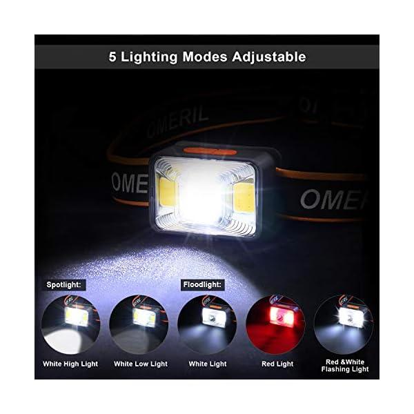 OMERIL Linterna Frontal LED USB Recargable, Linterna Cabeza Muy Brillante, 5 Modos de Luz (Blanco y Rojo), IPX5… 1