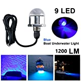 DasMarine 12V 1/2'' NPT Underwater 9 LED Drain Plug Light M12 x 1.5 Stainless Steel Marine Underwater Blue LED Light Boat