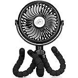 TDONE Stroller Fan Clip on Fan, Silent Desk Fan Rechargeable Personal Fan Flexible Pram Fans with LED USB Fan Travel Fan 11 Hours Use Pushchair Fans for Outdoor Tent Desktop Office Car Seat -Black