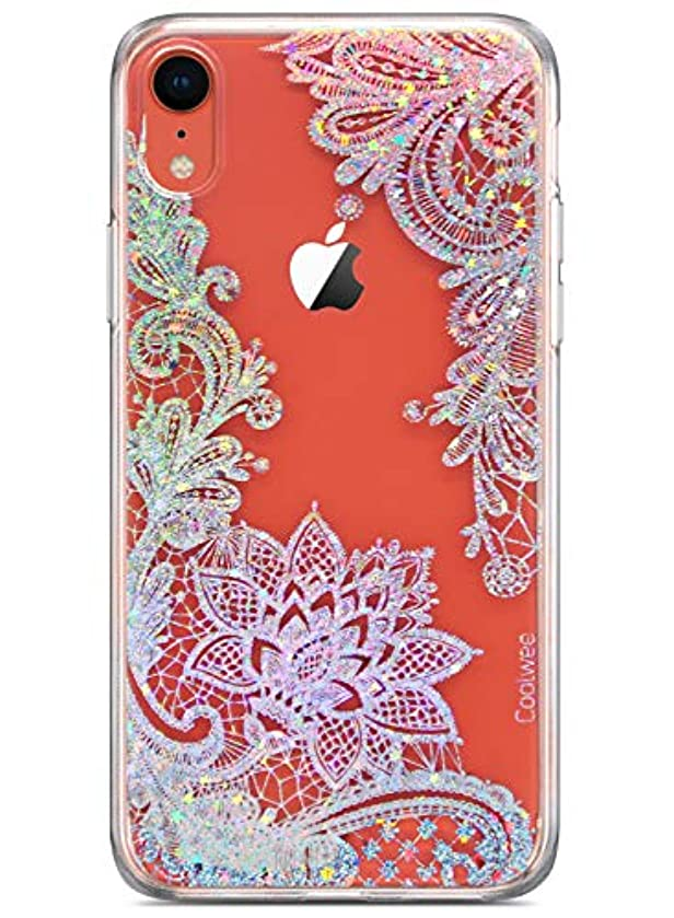 Coolwee Lace Case for iPhone XR Flower White Bling Shiny Glitter Women Girls Clear Design Floral Thin Plastic Hard Back Case Soft TPU Bumper Protective Cover for Apple iPhone XR 6.1 inch Mandala Henna