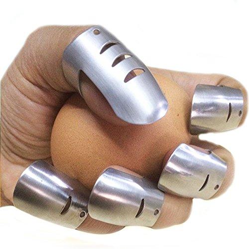 Protecteur de doigt de garde-mains, coupe-friteuse en acier inoxydable ajustable, évitez de blesser lors de la coupe Couper en découpe Outil de découpe de sécurité de cuisine