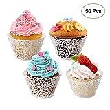 LEADSTAR Involucri 50Pezzi Pizzo Tagliato per Cupcake, Cupcake Muffin, Supporti per...