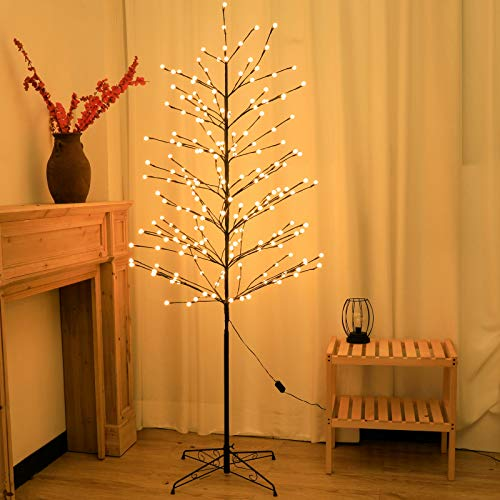 Snokip Lighted Tree 6Ft 208 LED Artificial Trees for Home Indoor Outdoor Festival Chrismas Decoration, Warm White