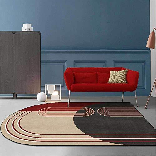 Alfombra moderna y elegante Líneas geométricas Diseño de color en contraste Alfombra suave, para sala de estar Dormitorio Guardarropa Habitación para niños Alfombra para silla Marrón oscuro /