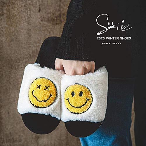 SLM-max Zapatillas Unisex,de Invierno para Mujer, de casa con Dibujos Animados Bonitos, Sonrisa, Antideslizantes, cálidos, Zapatos de Piso para el Interior del Dormitorio, de Moda