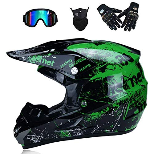 Adulto Motocross Casco MX Moto Casco ATV Scooter ATV Casco D. O. T Certificado Rockstar Multicolor con Gafas Máscara Guantes (S, M, L, XL),S