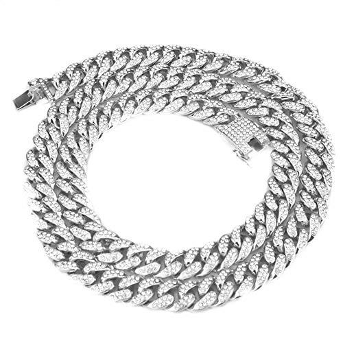 WOIA Collar de Cadena de Diamantes Completo Estilo Hip-Hop para Hombre y Mujer Exquisito Collar, Plata, 45 CM