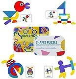 Tangram Madera Montessori Puzzle de Madera Rompecabezas de Patrones para Juegos de clasificación y apilamiento, Juguetes educativos Regalos para niños pequeños Niños Niñas