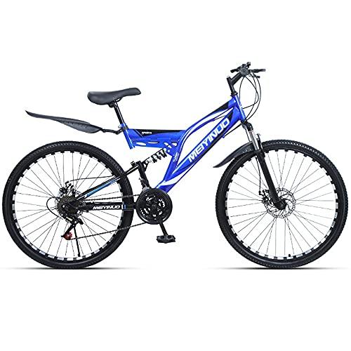 Mountain Bike Bicicletta da Cross da 26 Pollici con Doppio Ammortizzatore Bicicletta a 21/24/27 velocità Robusto Telaio in Acciaio al Carbonio per Uomo e Donna