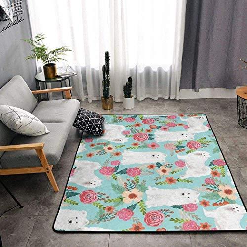 Alfombra lavable con diseño de perros samoyedos, diseño floral, decoración del hogar, antideslizante, para pasillo, dormitorio, baño, 183 x 122 cm