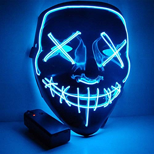 Halloween Scary Mask Led Light Up Mask with Neon Wires, Adjustable Scary Masquerade Glow Mask for Festivals, Parties, Carnivals and Raves, Glowing Mask for Men, Women, Kids (Azul)