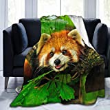 Dujiea Red Panda Climbs A Tree Fuzzy Flannel Blanket Throw 40'X50', Super Soft Lightweight Blanket Throw for Couch Chair Sofa, Cozy Bed Blanket for Kids Adults