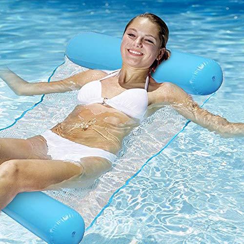 RHESHINE Aufblasbare Hängematte, Pool Float Lounge Wasserstuhl Wasser Hängematte 4-in-1 Ultrabequeme Luftmatratze Schwimmende Wasser Bett Matte Schwimmstuhl Poolsitze Liege Tragbare Lounge Stühle