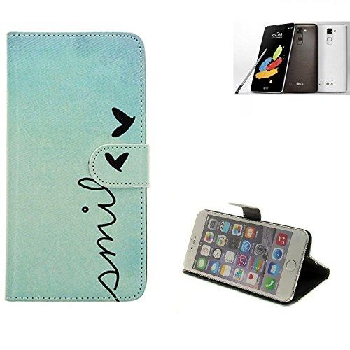 K-S-Trade® Schutzhülle Für LG Stylus 2 DAB+ Hülle Wallet Case Flip Cover Tasche Bookstyle Etui Handyhülle ''Smile'' Türkis Standfunktion Kameraschutz (1Stk)