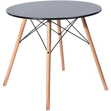 H.J WeDoo Ronde Table de Salle à Manger Scandinave Design Noir avec Eiffel Jambes en hêtre 80 cm