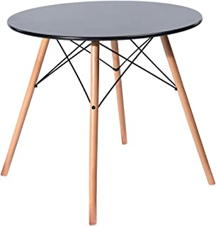 EGGREE Table Salle à Manger Ronde pour 2 4 Personne Table de Cuisine Scandinave Design, Pieds en Bois et Armature en Méta...
