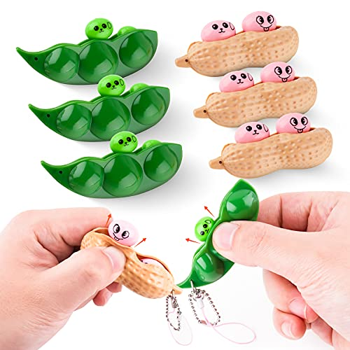 NiHealth Fidget Pack 6PCS Fidget Toys Funny Facial Expressions Squeeze Bean Peanut Fidget Toys Soybean Chain Toys for Stress Anxiety Relieving, Squeeze Keychain Toy for Kids Adults (3 Bean + 3 Peanut)