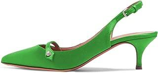 XYD Womens Pointed Toe Kitten Heel Slingback Pumps