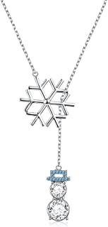 LINLIN FINE JEWELRY 925 Sterling Silver CZ Snowflake Cute Snowman Y-Shaped Lariat Necklace for Women Girls,20