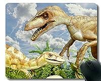 独特な注文のマウスパッドのマウスパッド、ステッチされた端が付いている幸せな恐竜の恐竜のマウスパッド
