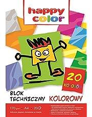 Blok techniczny kolorowy A4 20 arkuszy 20 sztuk